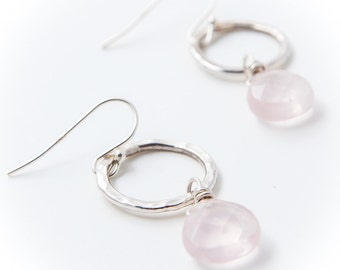rose quartz drop off hammered silver circle earrings