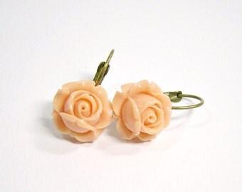Peach Roses Earrings Flower bronze