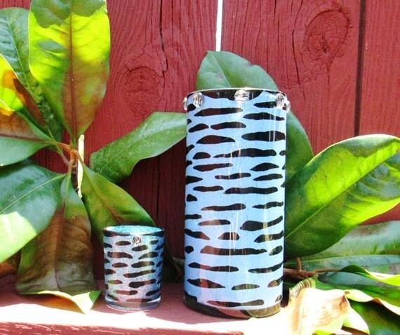 Clearance blue zebra print vase animal print room decor hand