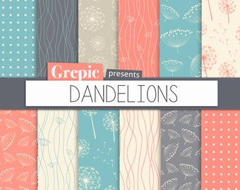 "Digital paper dandelions: ""Dandelions"" with dandelion patterns for scrapbooking, invites, cards"