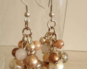Handmade earrings with different types of beads