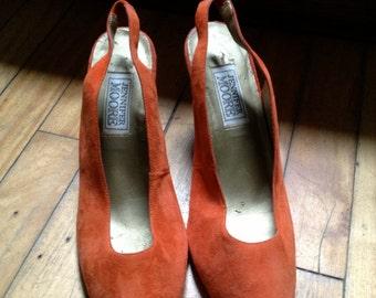 Vintage Orange Slingback Heels Womens size 9.5 B