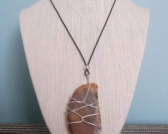 Handmade necklace - orange/brown agate
