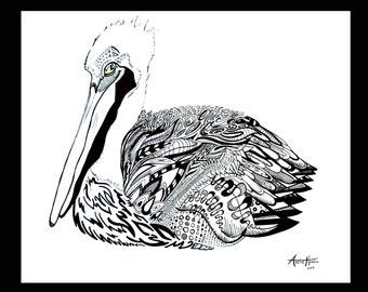 "Pelican Drawing, Black & White - 14""x17"""