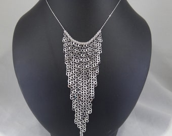 Necklace with  shiny chains handmade, 925 silver woman