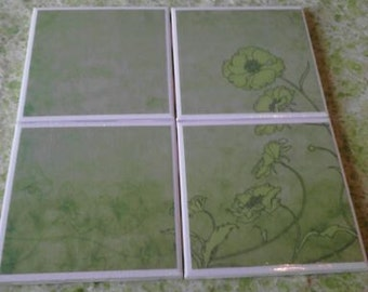 Set of 4 decoupaged tile coasters. Green flowers