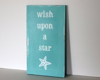 wish upon a star fish, beach sign, beach decor, distressed wood sign, coastal decor, beach house,