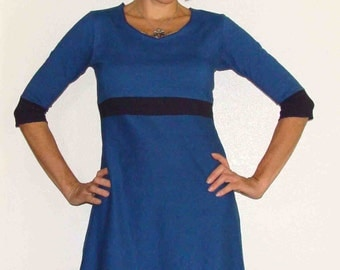 Organic Dress - Organic Cotton and Hemp Color Block Dress- Custom made and dyed just for you