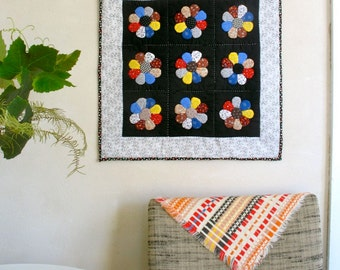 Hand Quilted Wall Hanging / Textile Art Home Decor / Pieced Appliqued & Quilted by Hand