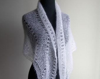 Custom Made Hand Knit Lacey Eyelet Shawl, Bridal Wedding, Wrap Scarf Veil Mantilla, White, Mohair Silk, Women's Fashion, FREE SHIPPING