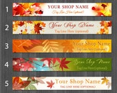 Autumn Etsy Banners, Fall Cover Photo Banner, Autumn Banner Design, Leaf Etsy Shop Banners, Maple Leaf Shop Banner,