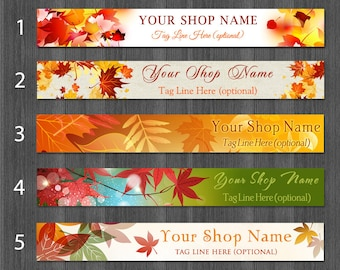 Etsy Banners Autumn, Fall Cover Photo Banner, Autumn Banner Design, Leaf Etsy Shop Banners, Maple Leaf Shop Banner,