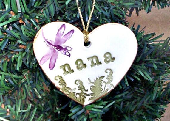 PAY IT FORWARD Ceramic Heart Ornament Nana