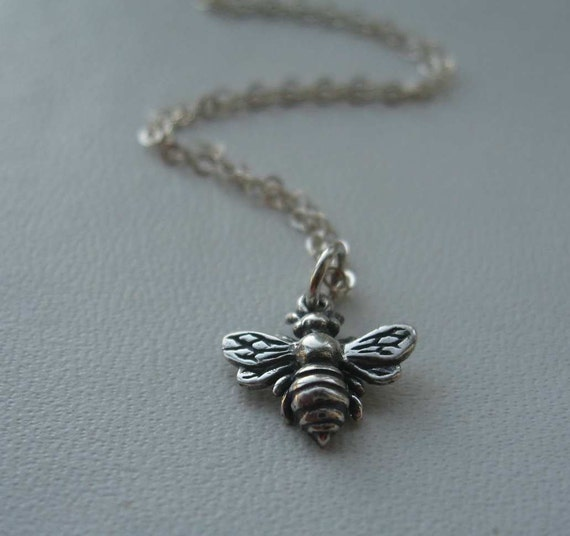 Items similar to honey bee sterling silver necklace for for Jewelry that supports a charity