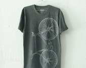 OOPS! unisex Small FIXIE BIKE TShirt light gray bicycle on charcoal tri-blend tee 003