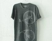 FIXIE Bike TSHIRT MEDIUM Unisex light gray bicycle on charcoal tri-blend tee M