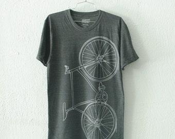 FIXIE Bike TSHIRT LARGE Unisex light gray bicycle on charcoal tri-blend tee L