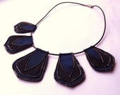 Striking tribal collar necklace by begurple in black and navy blue - begurple