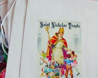 """Saint Nicholas Favor Bag Retro Party Vintage Custom 4X6 10 count """"St. Nick Treats"""" or 6X8"""