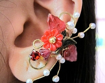 Red Flowers Garden And Bird Ear Cuff Woodland Gold Wings Free Elegant Feminine Bling Nature