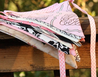 Fabric Bunting Banner Photography Prop,  9 Flags in Light Pinks, Black, White, Gray, Beige, Designer's Choice. Weddings and Parties.