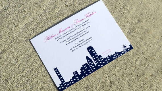wedding invitation skyline boston skyline deposit by steliedesigns