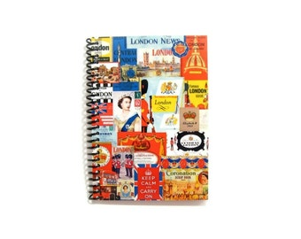London Retro Travel Spiral Bound Journal, A6 Notebook, Blank Sketchbook, Writing, Pocket, Paper, London Gifts Under 15, Cute, 4x6 Inches