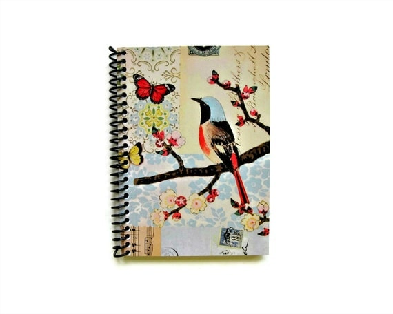 Bird and Butterflies Spiral Bound Diary Journal Back to School Blank Sketchbook Spring Blossoms Cute A6 Paper Small Notebook Gift Under 15