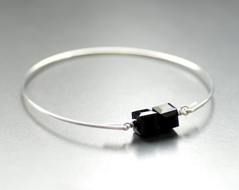Black Crystal Bracelet, Crystal Bangle, Black Bangle Bracelet, Stacking Bracelet, Silver Bangle, Modern Minimalist, Gift for Her Under 25