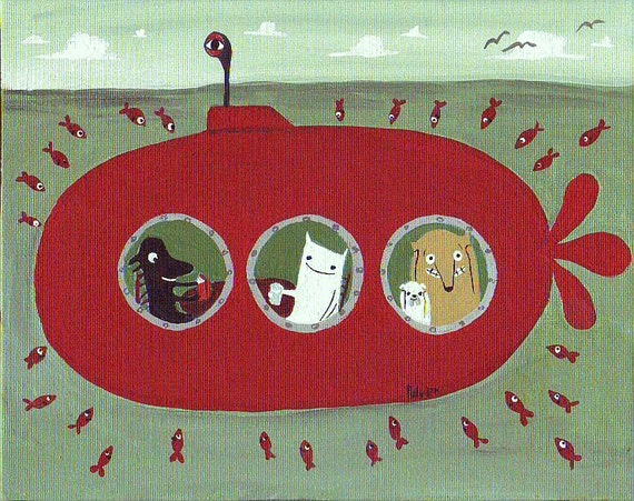 Dogs and Cat in Red Submarine Folk  Art Painting - SALE - Nautical Fish and Animals, Sage, Mint Green, Red