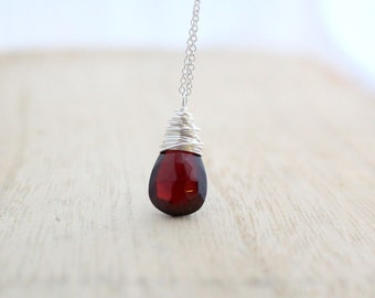 Garnet Necklace in Sterling Silver, AAA Gemstone Solitaire Necklace, Handmade Gifts, January Birthstone