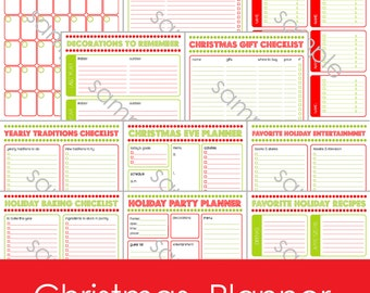 12 Page Printable Christmas Holiday Daily Planner . Calendar . Gift Checklist . Party Planner . Card List . Baking Checklist