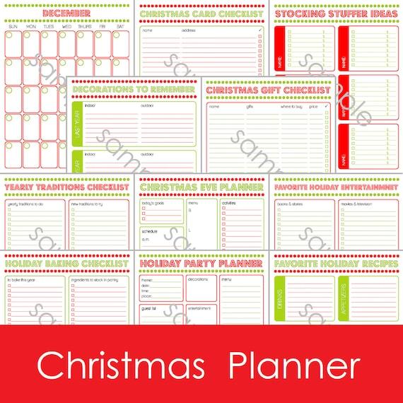 Christmas Gift Planner: 12 Page Printable Christmas Holiday Planner . Calendar . Gift