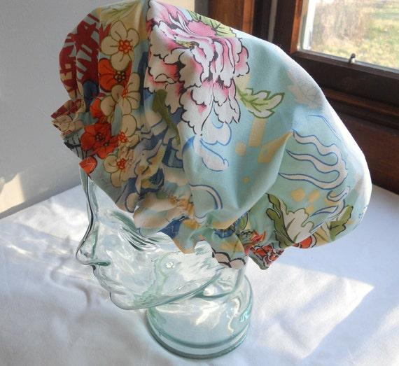 Shower Cap Rockabilly Bath and Beauty Hat - Japanese Peony Waves Pattern
