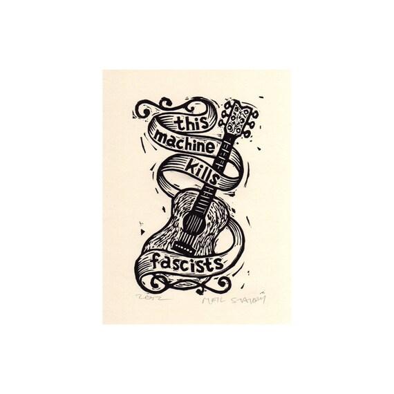 Woody Guthrie Tribute Linocut Print