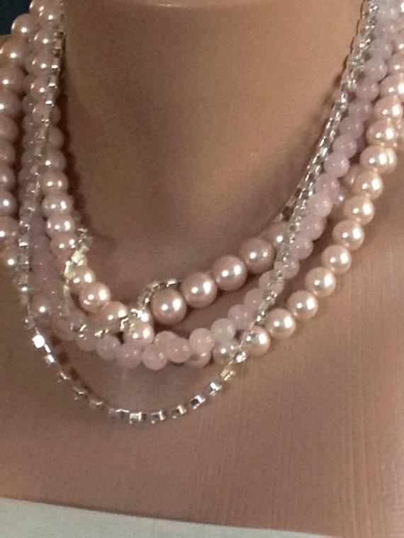 Light Tea rose Glass Pearl Necklace with Rhinestones brides bridesmaids