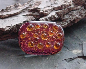 SALE Fused Dichroic Glass Cabochon. Black Cherry Red w Amber Dots. 33mm x 24mm. CAB-114