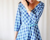 SALE Blue and Green Plaid Skater Dress with Long Sleeves - S - M