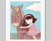 Farm nursery decor - baby girl nursery art - baby decor - girls room art - horse painting, brown - I Care  8x10