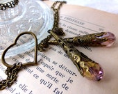Boho Tender Heart Lariat Necklace - Blush Pink Love Vintage Wedding Necklace - Valentine's Birthday