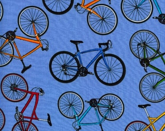 Bikes Blue Timeless Treasures Fabric 1 yard LAST IN STOCK