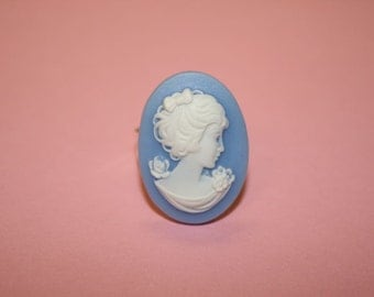Medium Blue Flower Lady Cameo Ring