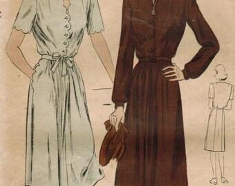 1940s Vogue 9666 Vintage Sewing Pattern Misses Afternoon Dress, Shirtwaist Dress Size 12 Bust 30