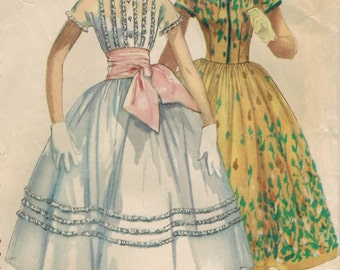 1950s Simplicity 1517 Vintage Sewing Pattern Misses Dress, Size 14 Bust 32