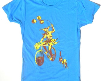 Women's Cat T-Shirt, The Jester, in Light Blue