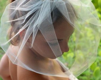 "Birdcage Veil, Bird Cage Veil, Blusher Veil, Tulle Bridal Birdcage Veil, White, Ivory,13""bridal fascinator, bridal hair accessories"