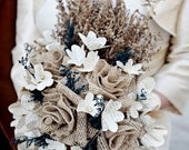 Burlap & Vintage Book Page Flower Bouquet - Rustic Wedding - Made to Order