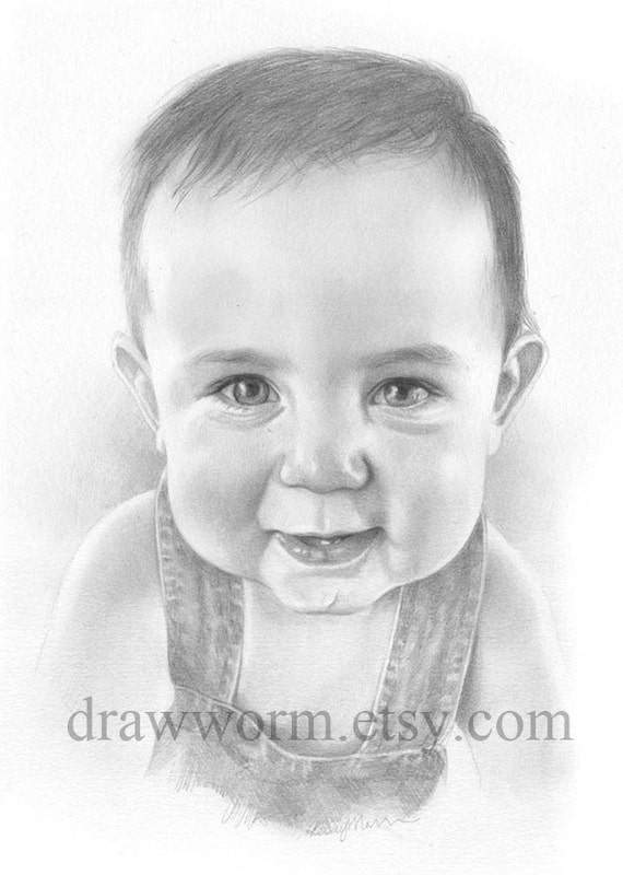 Custom child's pencil portrait - 9x12