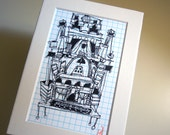 ROBOT BOP | alien architecture | black and white Gocco print | handprinted on index card with mat by Kathryn DiLego