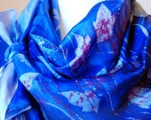 "Hand Painted Silk Batik Scarf for sophisticated modern taste - ""Night Dragonflies"" - Cobalt Blue and Cranberry Red - Unique Gift for Her"
